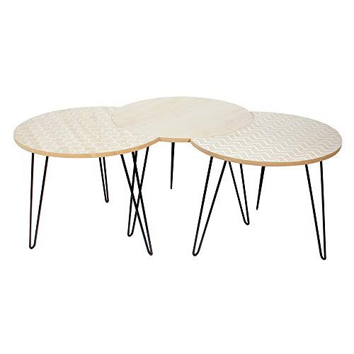 THE HOME DECO FACTORY Lot de 3 Tables Blanches, Bois-MDF, Beige, Blanc, Taille Unique