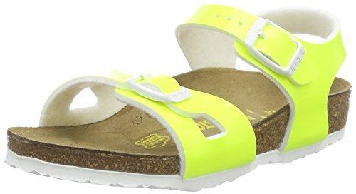 Birkenstock Rio, Sandali con Cinturino alla Caviglia Bambina, Giallo (Vernis Neon Yellow), 34