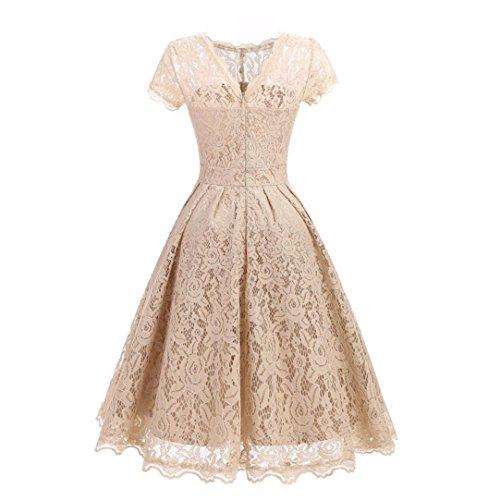 Damen Elegant Hochzeit Abendkleid Sannysis Frauen mit Blumen Spitzenkleid Kurzarm Vintage Party Schaukel Brautjungfer Kleid (sexy-Beige, XL) (Kaftan Afrikanischer)