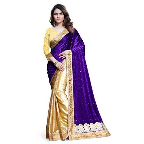 KAVVYA FASHION Women's Velvet Saree With Blouse Piece (Kavvyavlb08 _Beige And Purple)
