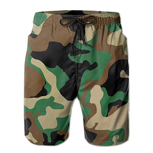 LarissaHi Herren Shorts Military Camo Badehose Schnelltrocknende Boardshorts Sommer Badehose zum Surfen L
