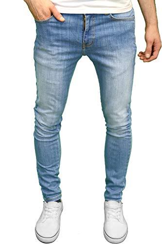 526Jeanswear Herren Stretch Super Skinny Fit Jeans 32W/32L, Light Stonewash - 32 Skinny Jeans