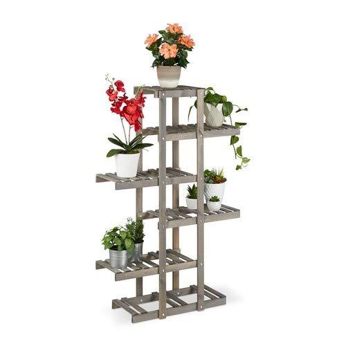 Relaxdays Blumenregal Holz, Blumentreppe 5-stufig, Pflanzenregal Innen, Pflanzentreppe Shabby, HxBxT: 125x81x25 cm, Grau