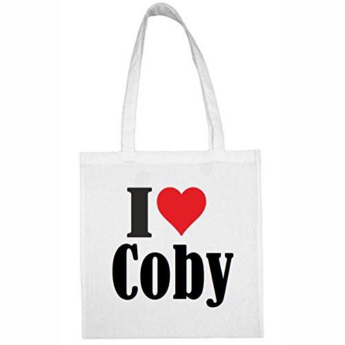 Tasche I Love Coby Größe 38x42 Farbe Weiss Druck Schwarz Coby 19