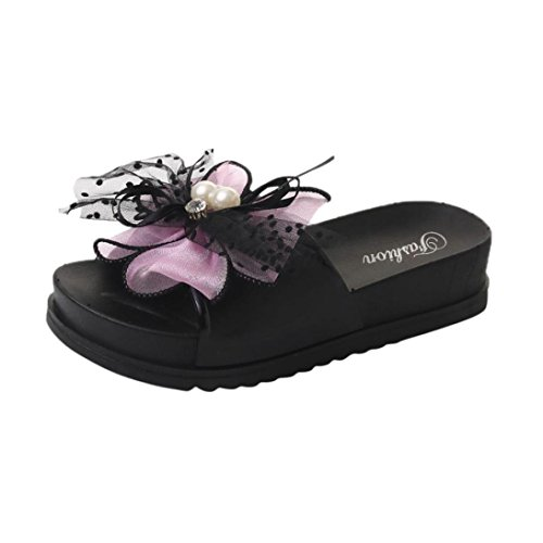 SOMESUN Sandali Pantofole da Donna Lace Pantofole da Donna Estate Spiaggia in Pizzo con Zeppa Casual Sandali con Zeppa Scarpe da Donna Rosa