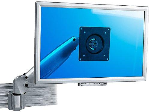 Dataflex 110 ViewMaster M6 Monitorarm (Tragkraft max. 10kg, bis 61 cm (24 Zoll) Bildschirmdiagonale, VESA MIS-D: 75x75/100x100mm, Spannweite Klemme: 30mm) Silber - Spannweite