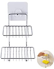 HOME CUBE Self Adhesive Stainless Steel Soap Dish Storage Box Hooks Rack (Silver)