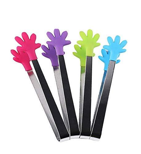 Hillento 4 Stück Mini-Zange / Eiszange mit perfekt gestalteten Silikon-Handform Zange beste Küchenhelfer, für Muffins, Pfannkuchen, Kekse, Schokolade