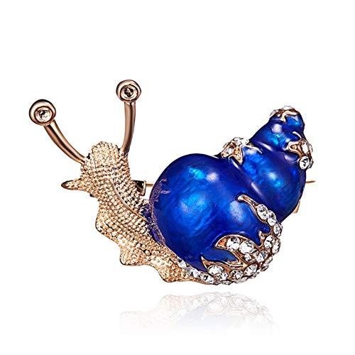 AILUOR Damen Emaille-Snail-Brosche, Gold Überzogen Bling Kristall Nette Tier Insekt Pin blau