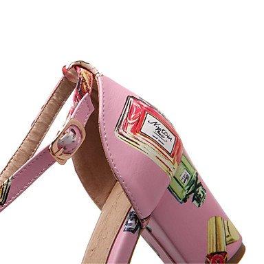 LFNLYX Donna Sandali Estate altri materiali personalizzati similpelle Office & Carriera Abito casual Chunky tacco fibbia PrintBlack animale Rosa Blu Black