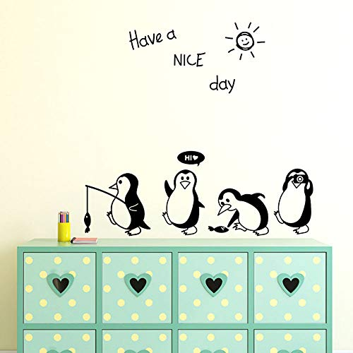 Have a Schönen Tag Niedlichen Tiere Pinguin Kühlschrank Aufkleber, Wohnzimmer Schlafzimmer Küche Wandaufkleber,Kunst Für Heimtextilien Wandbild 52X55cm