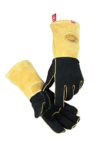 Caiman 1852-6 Extra Large Wool Lined Genuine American Deerskin Metal Inert Gas and Stick Welding Glove, Black and Gold by Caiman