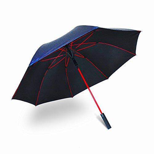 Parapluie de golf coupe-vent par Ambrellaok 152,4cm Grande ouverture automatique pluie UV protection Parapluie, 3D blue