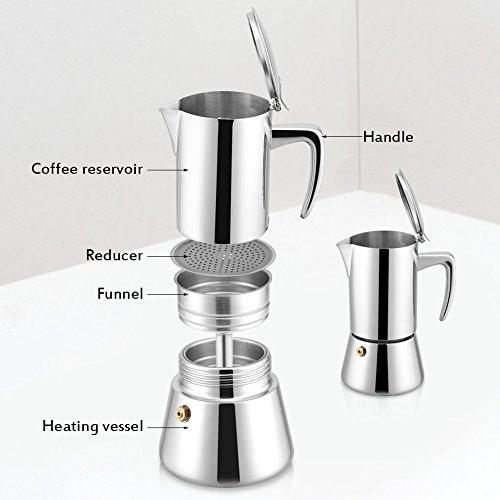 41TlYBfSOAL. SS500  - OKBY Espresso Coffee Pot- 200ml Stainless Steel Moka Maker Modern Style Elegant and Stylish Sleek Household Pot For Gas…