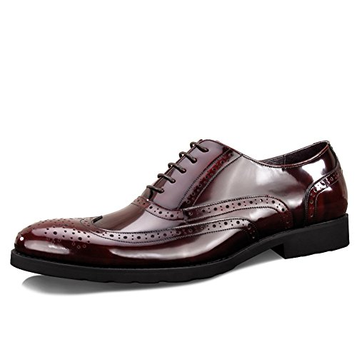 Scarpe Da Uomo In Pelle Casual Dress Autunno Business Wedding Moda Slip On Marrone-nero Rosso