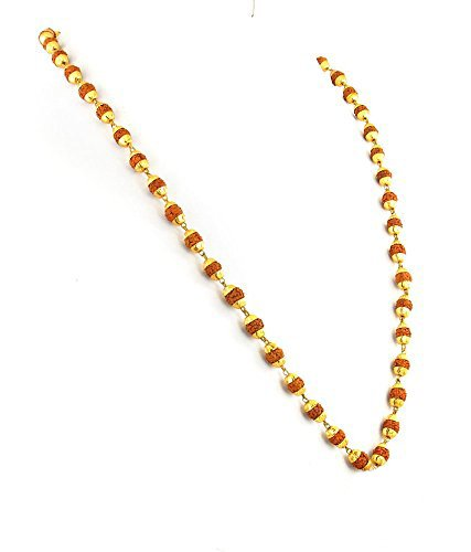 Majik Gold Plated Rudhraksha Chain Rudhraksha Unisex Mala