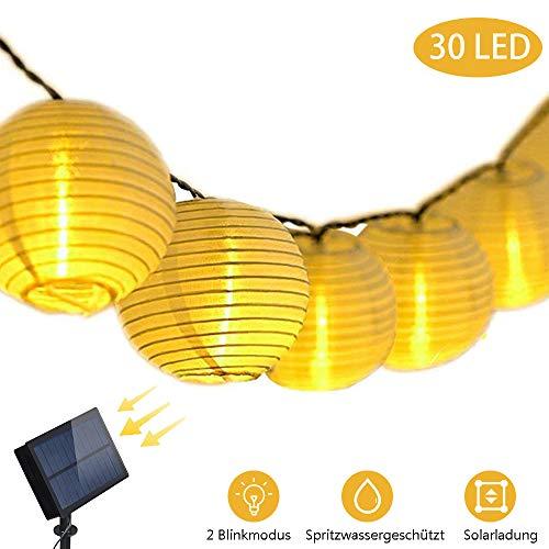 Solar LED Lichterketten Gartenbeleuchtung Lampions 6m 30 Laterne 20cm Lichtabstand hell + blinkend Warmweiß Garten, Party, Terrasse, Hof, Feiern, Außen, Fest Deko, Usw