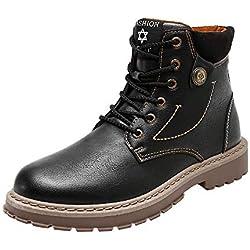 Zapatillas de Hombre, Botas de Cuero de los Hombres de la Moda de otoño e Invierno Botas de Herramientas Inglaterra Zapatos Retro Hombres Ayuda Alta Botas para Hombre Zapatos Hombre by BaZhaHei
