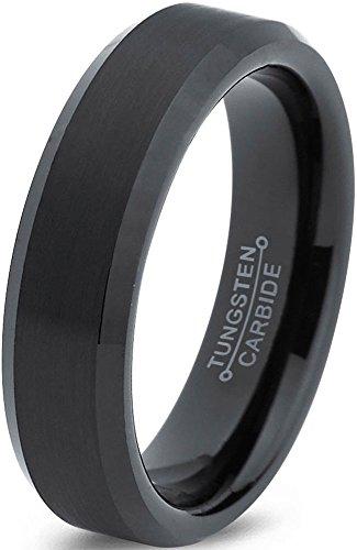 Tungsten Wedding Band Ring 6mm for Men Women Comfort Fit Black Enamel Beveled Edge Brushed Lifetime Guarantee Size 16,5