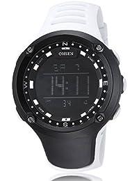 Alienwork Ohsen Reloj Digital Multi-función cuarzo Retroiluminación Poliuretano negro blanco OS.1510-2