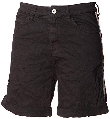 Basic.de Damen Bermuda-Shorts mit Metallstreifen Melly & CO 6009 Schwarz XL