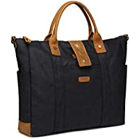 Laptop Bag for Women, VASCHY Water Resistant Vintage Leather Waxed Canvas Tote Bag Work Bag for Women Fits 15.6 inch Laptop with Detachable Shoulder Strap
