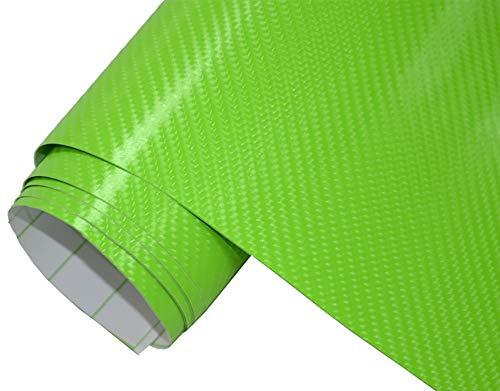 5€/m² Auto Folie - 4D Carbon grün 300 x 150 cm - selbstklebend BLASENFREI flexibel Car Wrapping Klebefolie folieren