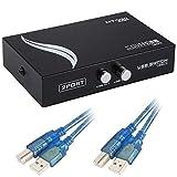 EEEKit Bundle for Printer Switch, 2 Porte USB 2.0 Stampante Manuale Condivisione Scanner Switch Hub 2 da PC a 1 Splitter Adapter, 2 Pack USB da A a B Cavo Stampante