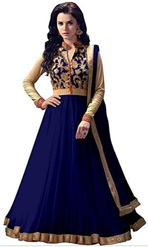 Rensila Women\'s Navy Blue & Beige Banglori Silk & Net Anarkali Salwar Suit