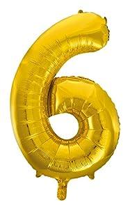 Idena 38221 - Globo de plástico con número 6, color dorado