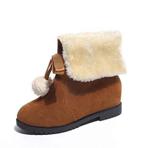 DEED Damen-Schnee-Stiefel-warme Bindungs-Ups-Freizeitschuhe für tägliche Studenten,39 EU,Braun Damen Warm Ups