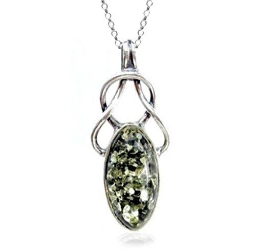 Noda - catena rolò con pendente, in ambra verde e argento sterling, stile celtico