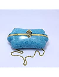 GiftingBestWishes Blue Metal Clutch Cum Sling Bag With Strong Metal Chain For Women