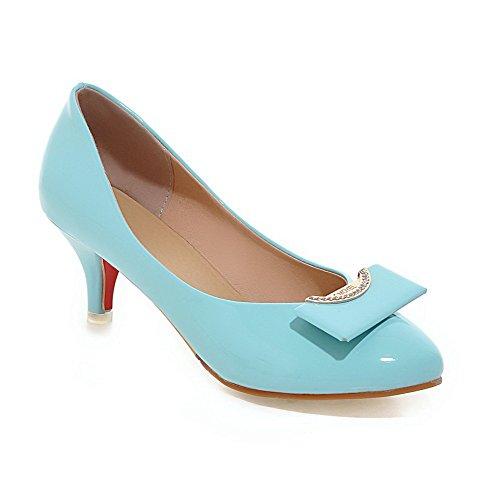 AgooLar Damen PU Rein Ziehen auf Rund Schließen Zehe Mittler Absatz Pumps Schuhe, Himmelblau, 34