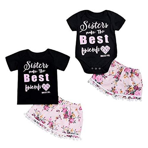 Haokaini Sommer große kleine Schwestern Familie passenden Satz, lässig Blumenball T-Shirt Shorts Strampler Outfits (Color : Little Sister, Size : 0-3m)