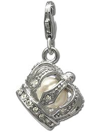 200c31997d60 Rey corona SilberDream con perlas Charm 925 plata de ley colgante para  pulsera cadena pendientes FC649
