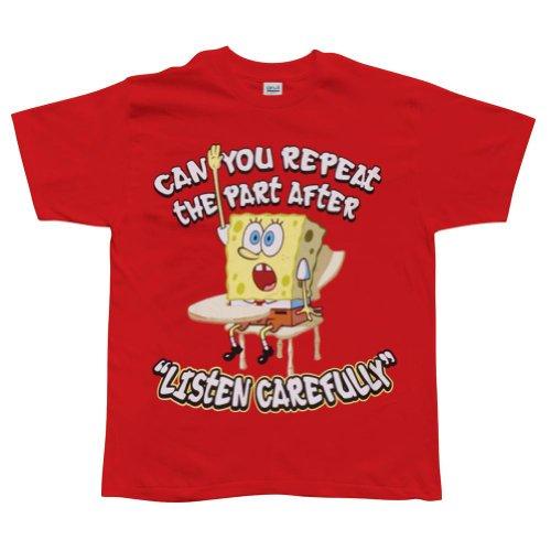 Old Glory Spongebob Schwammkopf–Hören sorgfältig Youth Jungen T-Shirt Gr. X-Large, Rot (Schwammkopf-kleidung Spongebob)