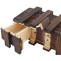 GODHL magica scatola di legno con cassetti Extra sicuro segreto Puzzle scatole Brown - Magico Protezione