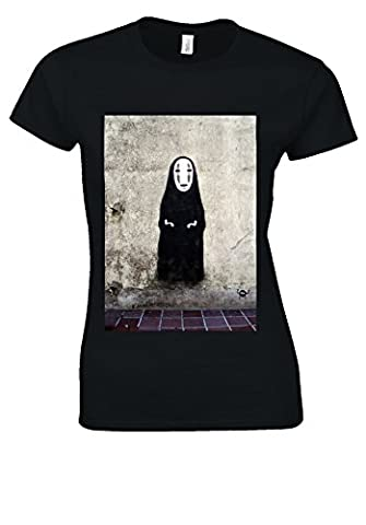 No-Face Kaonashi Spirited Away Gold Novelty Black Women T Shirt Top-S
