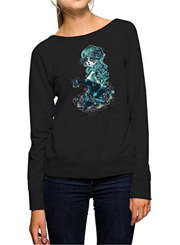 Santa Muerte Blue Sweater Girls Black Certified Freak-S