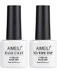 AIMEILI No Wipe Top et Base Coat Semi-Permanent Soak Off UV LED Vernis à Ongles Gel Nail Polish Set Kits de Manucure 2 x 8ml