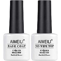 AIMEILI Base y Top Coat Semipermanente Esmalte Semipermanente UV LED Kit de Uñas Gel de Regalo Para Kit de Manicura Soak off Manicura y Pedicura - 2 x 8ml