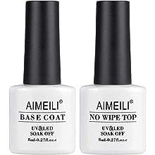 AIMEILI No Wipe Top and Base Coat Gel Polish Set 2×8ml Soak Off UV LED Gel Nail Polish Varnish Lacquer Manicure Set