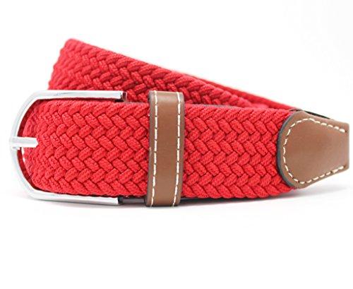 Cinturones elásticos Tela para Hombre Tejido Cinturón Trenzado Estiramiento Cinturón con correas de cuero PU Longitud de la hebilla 100-105cm por Jeracol