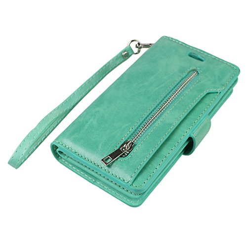 iPhone 7 Leder Geldbörse Wallet Reißverschluss Karte Schutzhülle, Schutzhülle iPhone 7, iPhone 7 Bumper Hülle, Moon mood® Ledertasche für Apple iPhone 7 (4.7 Zoll) PU Leder Zipper Geldbörse Handy Hols Minze grün
