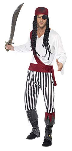 Smiffys Pirate Man Costume with Shirt, Trousers, Headpiece & Belt