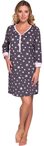 Italian Fashion IF Damen Nachthemd Comet 0111 (Rosa/Graphite, L)