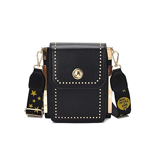PAINTYTY Women's Mobile Phone Bag - One Shoulder Slung Portable Rivet Trend Wild Lady Mobile Phone Bag@Black Wild One Black Zebra