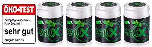 kauX Xylitol Zahnpflege-Kaugummi ohne Aspartam, 4'er Pack Spearmint (60g=40 Stück pro Dose)