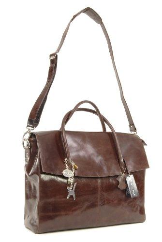 Borsa over-size per portatile in pelle di Catwalk Collection Helena - Marrone